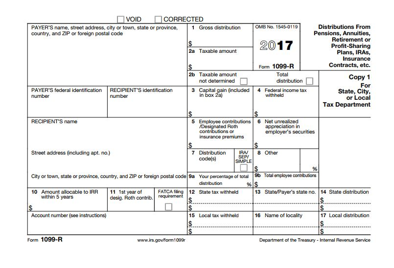 2017 Tax Form for 1099-R